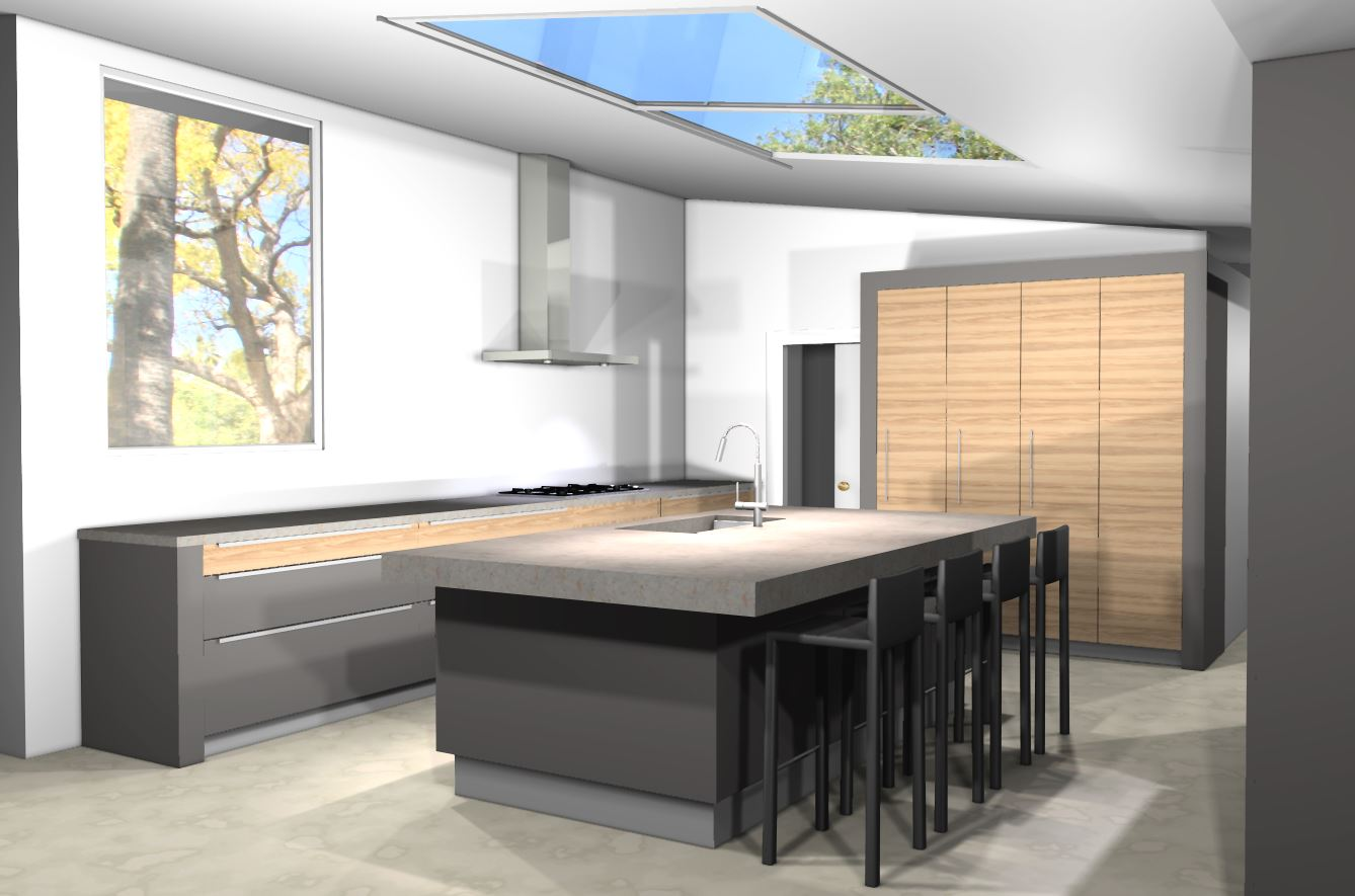 kitchen design with no top cabinets. Render 1 2 modern kitchen design  MidCentury in a Colonial Town